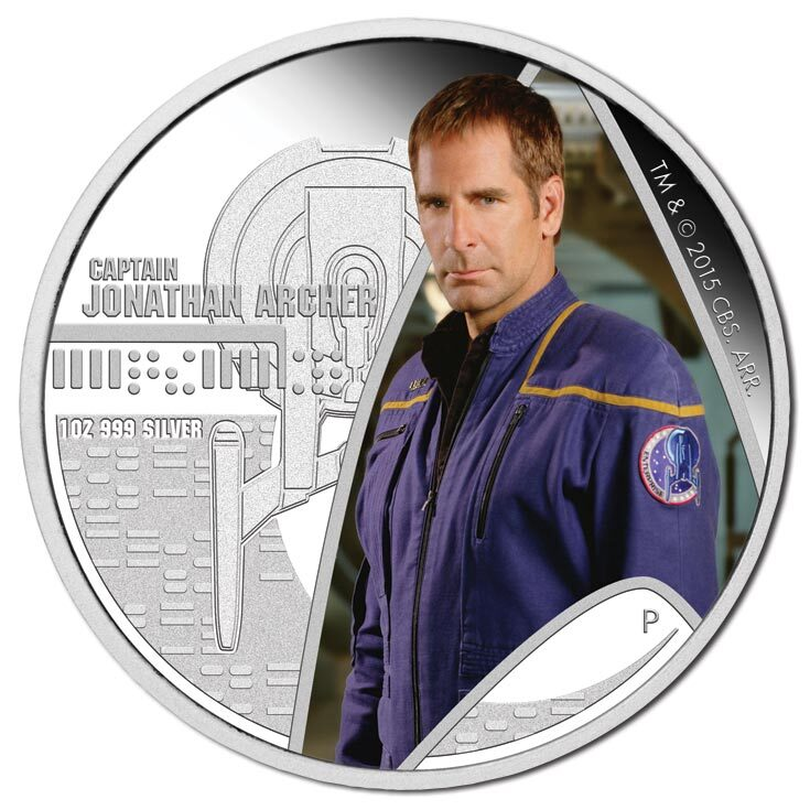 2015 $1 Star Trek - Captain Archer Enterprise NX01 1oz Silver Proof Pair