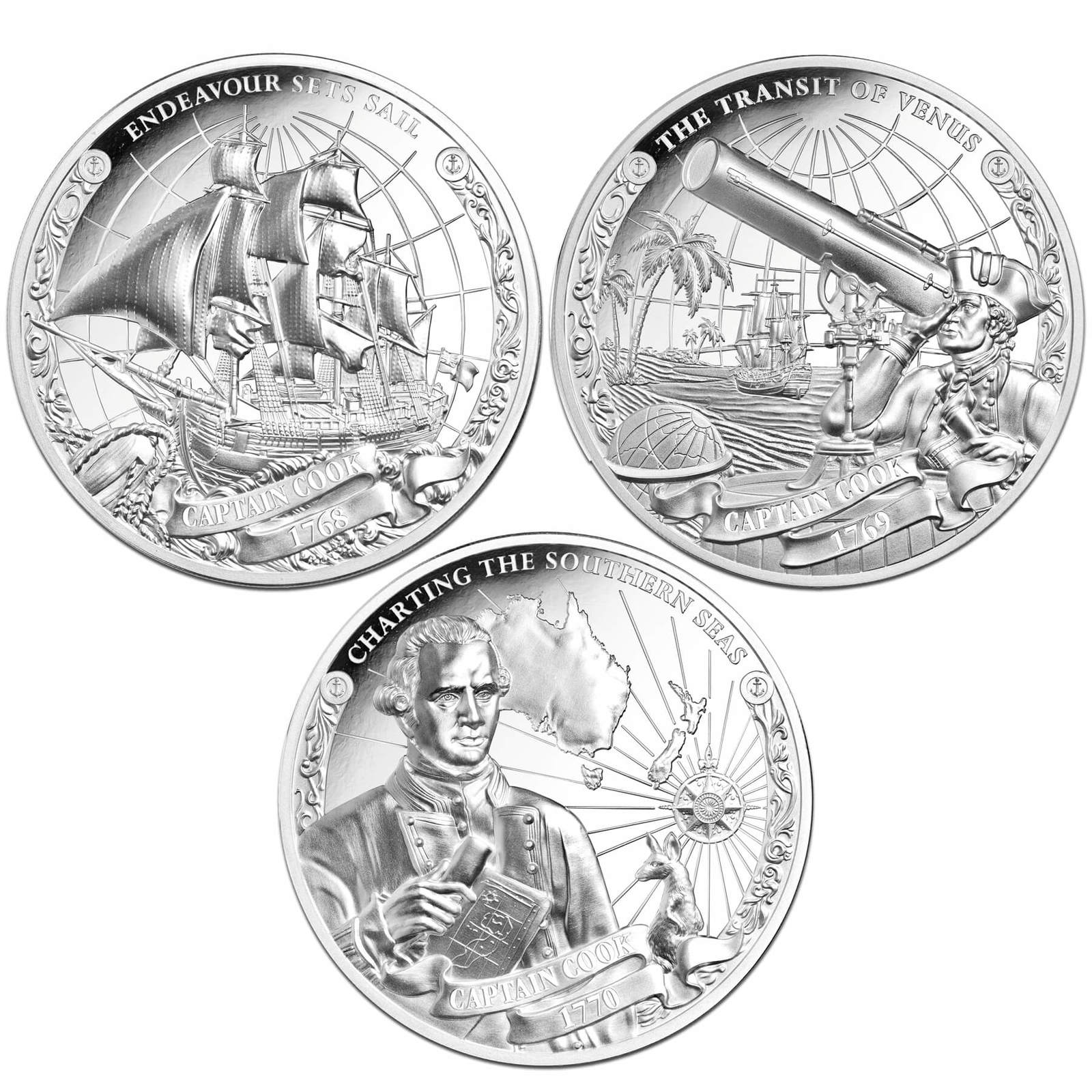 2018 $5 Captain Cook Ultra High Relief 1oz Silver Proof Set