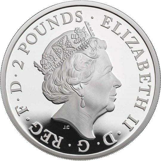 2019 UK£2 Queen's Beast Yale of Beaufort Silver Proof