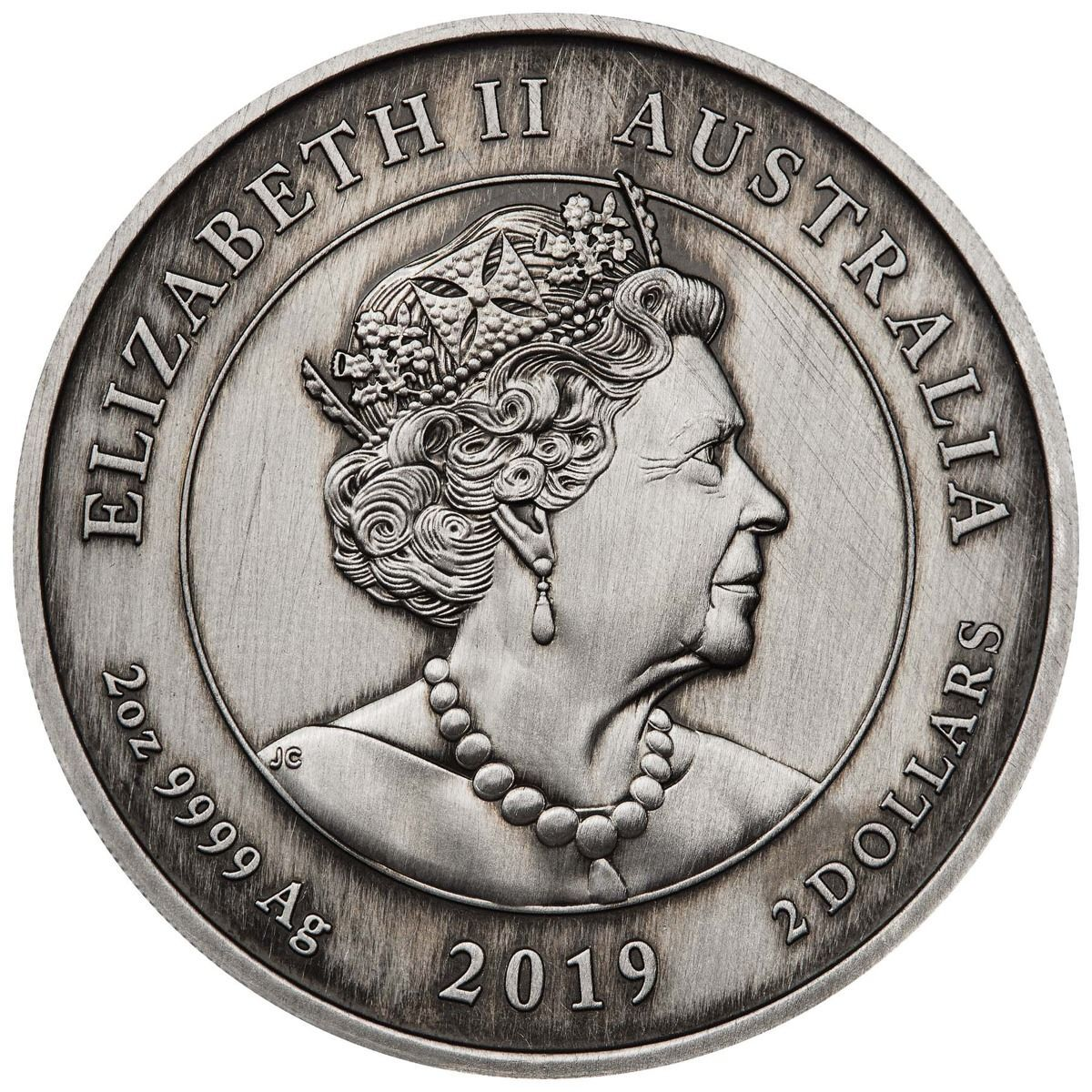 2019 $2 Queen Victoria 200th Anniversary 2oz Silver Cameo Antiqued Coin