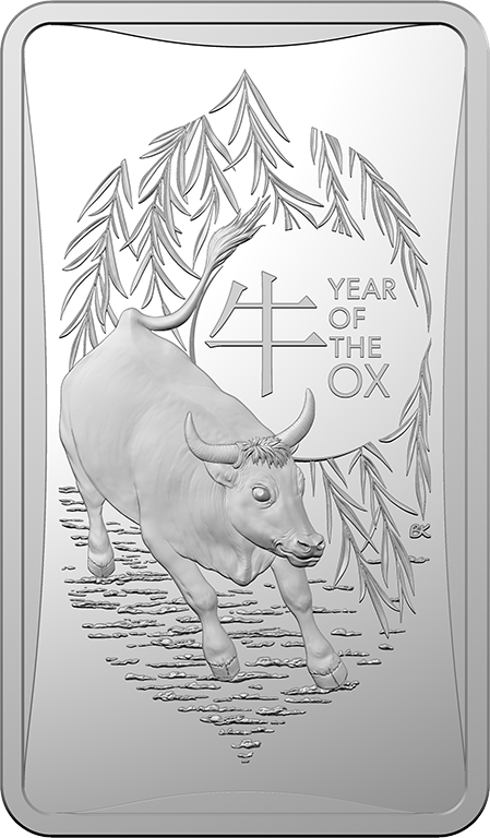 2021 $1 Lunar Year of the Ox 1/2oz Silver Frosted Ingot