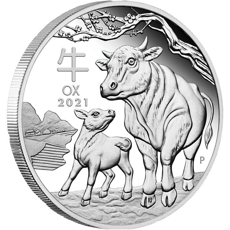 2021 $1 Year of the Ox 1oz Silver Proof