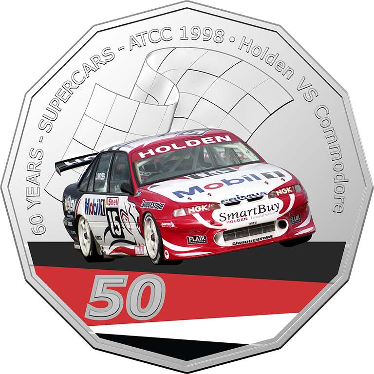 2020 50c 60 Years of Australian Touring Car Champians Holden VS Commodore UNC Coin