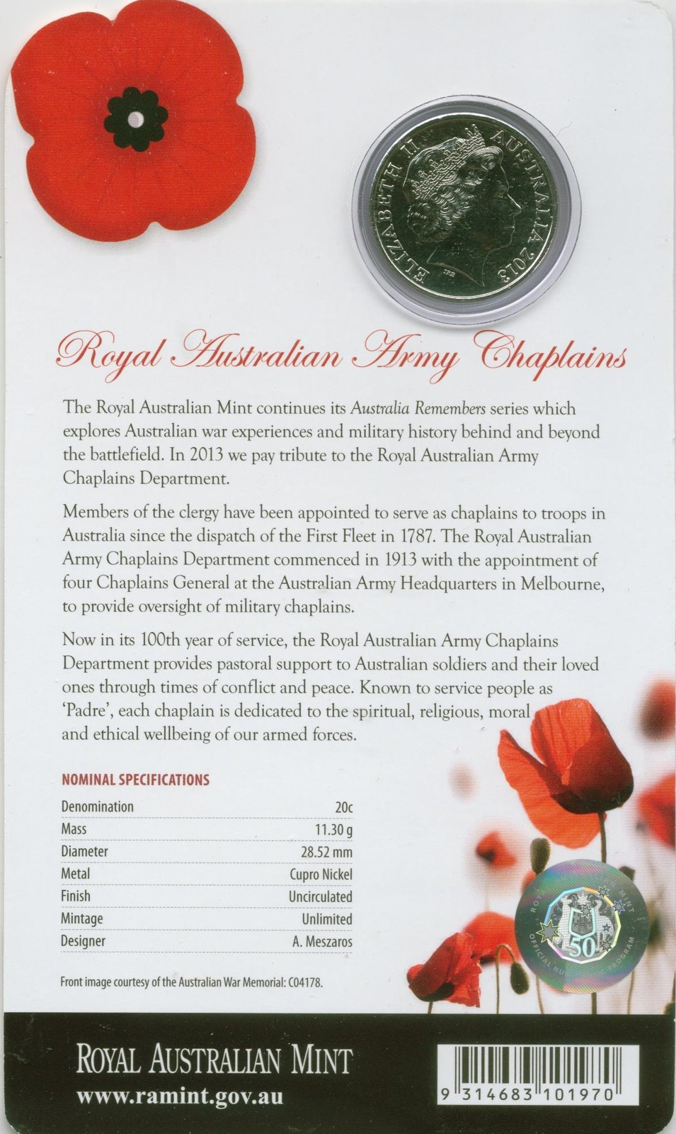 2013 20c Australia Remembers Army Chaplains