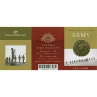 2001 $1 Centenary of the Aust Army C