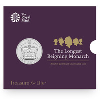 2015 £5 Longest Reigning Monarch Brilliant Uncirlculated UK Coin