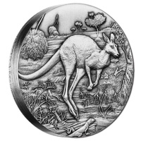 2016 $2 Kangaroo 2oz High Relief Silver Antique