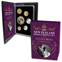 2016 NZ Proof Set Featuring QEII 90th Birthday Coin