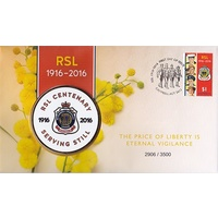 2016 Centenary of the RSL Stamp and Medallion Cover
