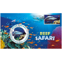 2018 Reef Safari Grey Reef Shark Spinning Medallion and Stamp Cover