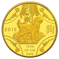 2018 $10 Year Of The Dog 1/10oz Gold Proof