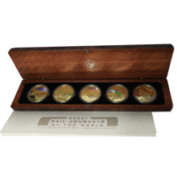 2004 Great Rail Journeys of the World Gold Plated Silver 5 Coin Proof Set