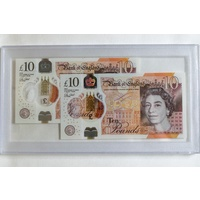 2017 £10 New Generation Polymer Banknote Unc Consecutive Pair