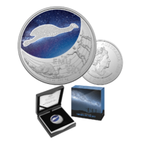 2020 $1 Star Dreaming Emu in the Sky Coloured 1/2ox Silver UNC Coin