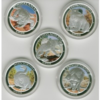 2013-14 1oz Silver Megafauna Series all 5 coins
