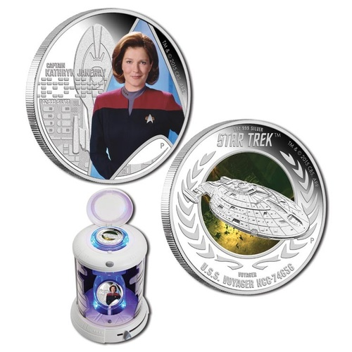 2015 TVD$1 Star Trek Captain Janeway & U.S.S. Voyager 1oz Silver Coin Set