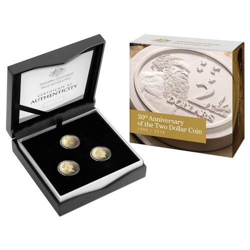 2018 $2 30th Anniversary of the $2 Coin 3 Coin Proof Set
