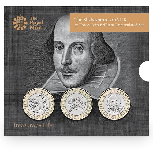2016 UK £2 The Shakespeare Three-Coin BU Set