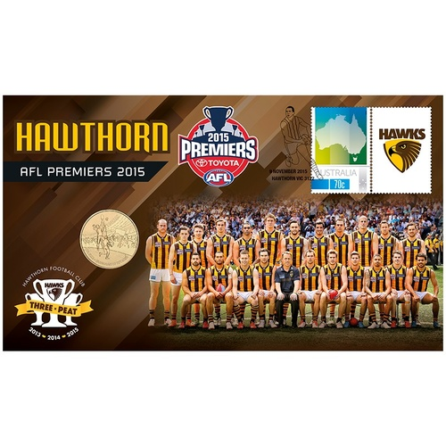2015 Hawthorn ALF Premiers Stamp and Coin Cover