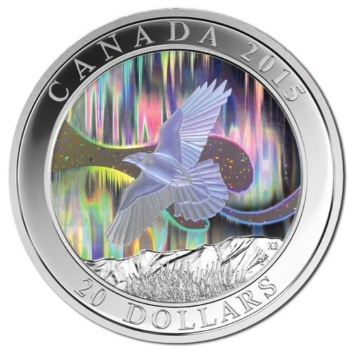2015 Canada $20 Northern Lights Raven Hologram Silver Proof