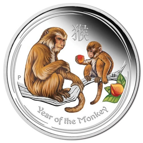 2016 $2 Perth ANDA Year Of The Monkey Colour 2oz Silver Proof