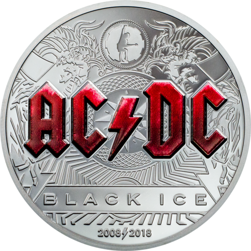 2018 CI$10 AC/DC Black Ice 2oz Silver Black Proof Coin