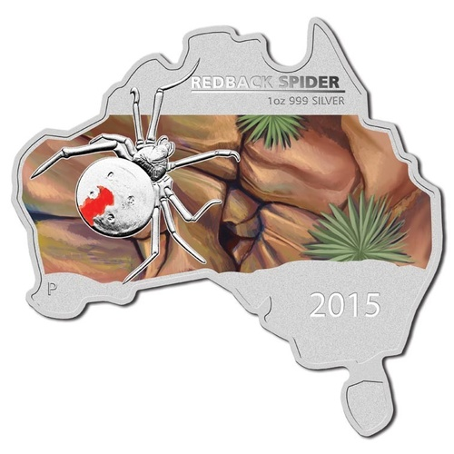 2015 $1 Australia Shaped Red-Back Spider 1oz Silver BU