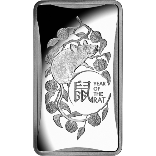2020 $1 Lunar Year of the Rat 1/2oz Silver Frosted Ingot