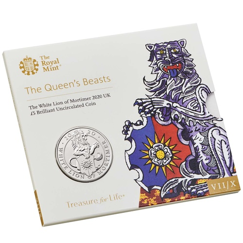 2020 £2 Queen's Beasts White Lion of Mortimer Brilliant Unc Coin