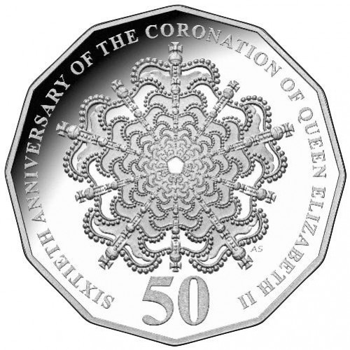 2013 Silver 50c 60th Anniversary of QEII's Coronation